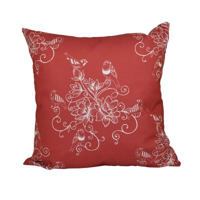Morning Birds Coral Floral 16 in. x 16 in. Throw Pillow
