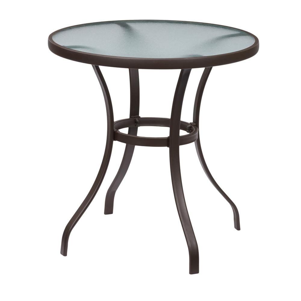 Hampton Bay Mix And Match Round Metal Outdoor Bistro Table FTS00899B   The  Home Depot