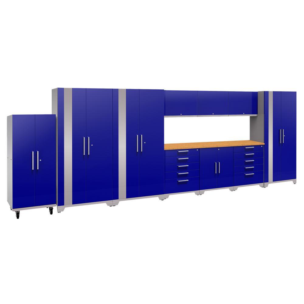 Performance Plus 2.0 80 in. H x 220 in. W x 24 in. D Steel Garage Cabinet Set in Blue (11-Piece)