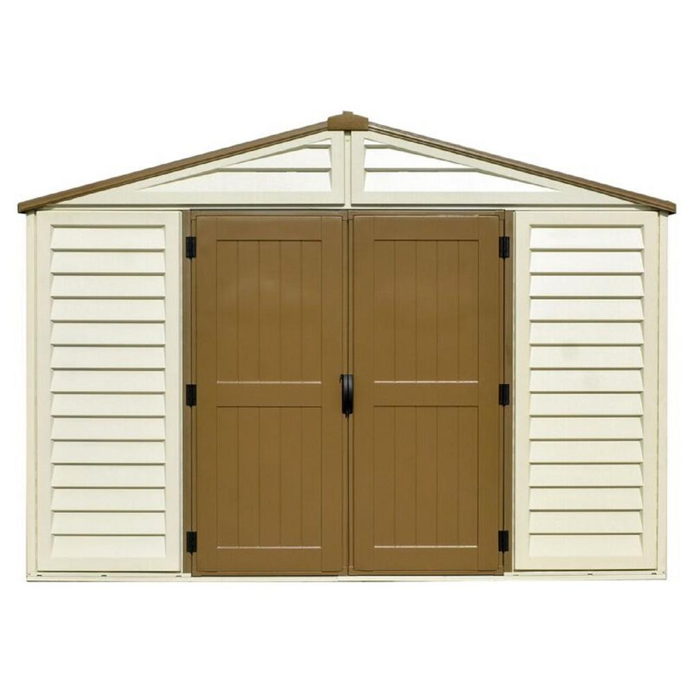 shed beige duramax building woodbridge cream ft x foundation with p products vinyl plastic sheds