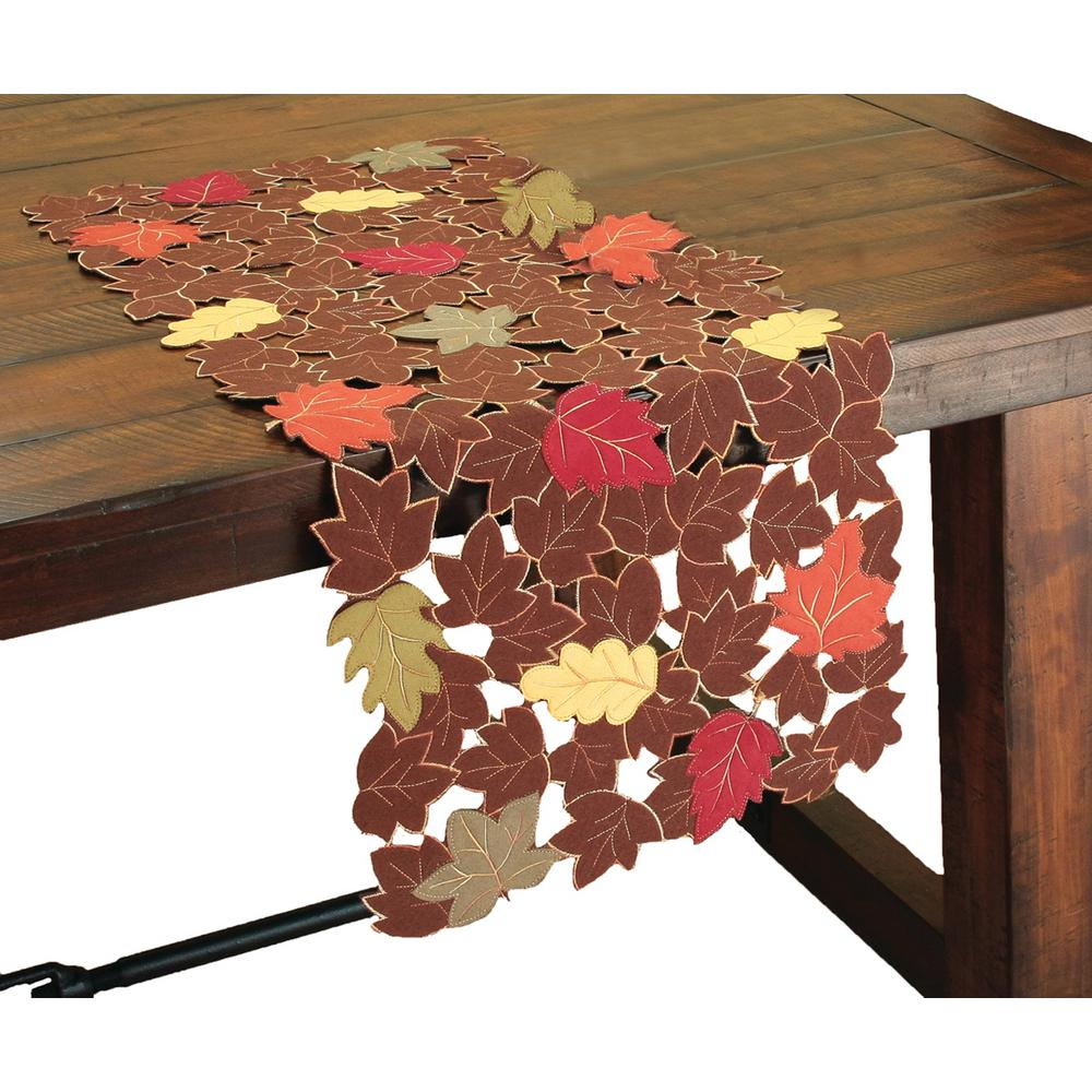 Xia Home Fashions 16 in. x 36 in. Forest Blanket with Poly-Suede Cutwork Table Runner