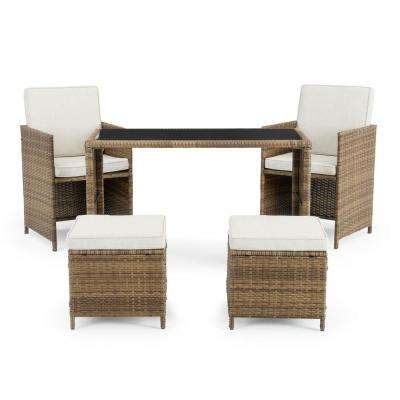 Sloan Brown 5-Piece Wicker Outdoor Dining Set with Beige Cushions