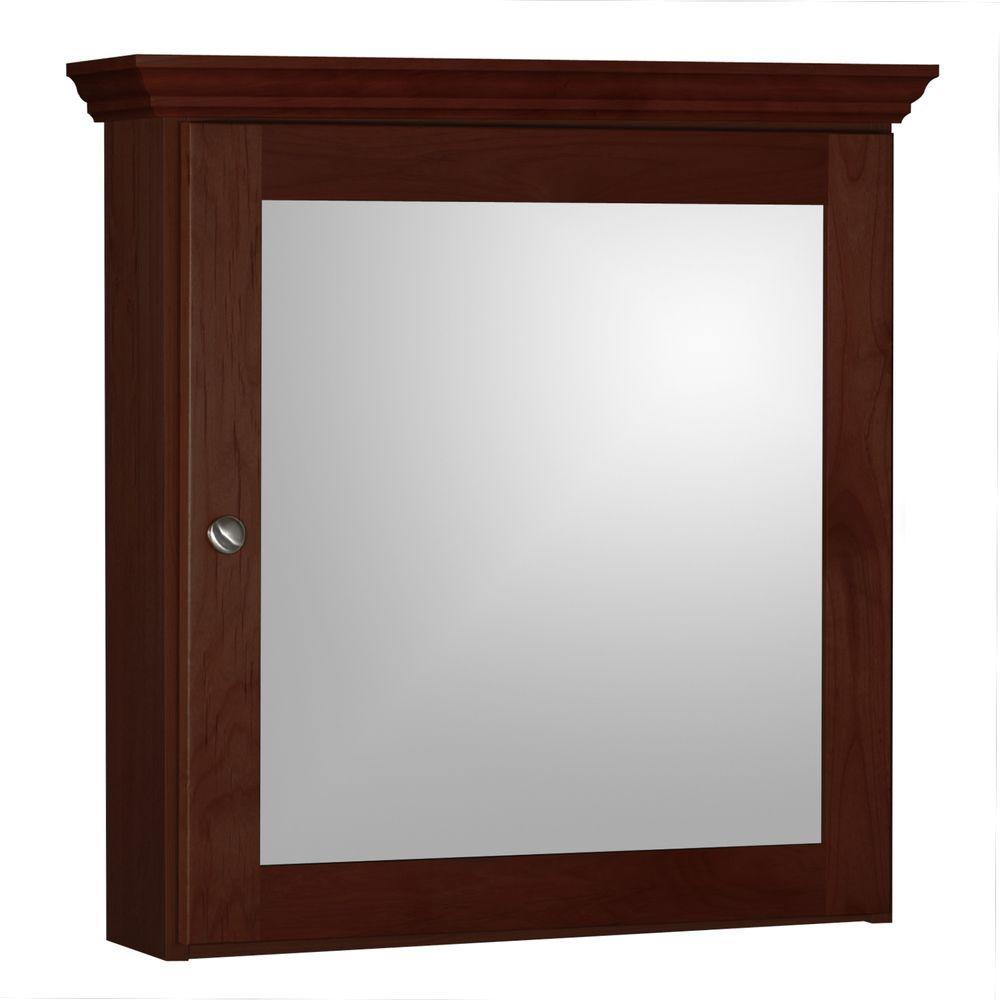 Shaker 24 in. W x 27 in. H x 6-1/2 in. D Framed Surface-Mount Bathroom Medicine Cabinet in Dark Alder