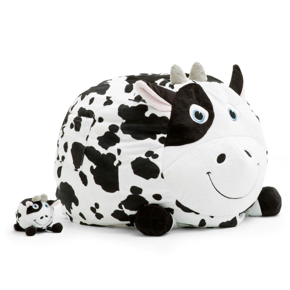 Awesome Big Joe Chloe The Cow Cozy Black And White Plush Bean Bag Gmtry Best Dining Table And Chair Ideas Images Gmtryco