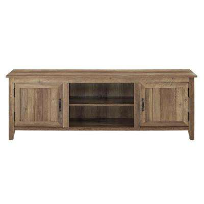70 in. Modern Farmhouse Entertainment Center TV Stand Storage Console with Doors and Center Shelving in Rustic Oak