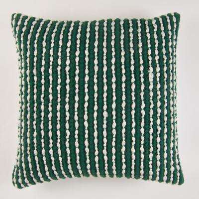 Handwoven Textured Pillow in Green