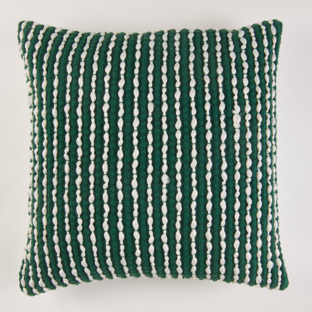 Handwoven Textured Pillow In Green