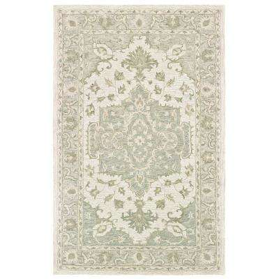 Parampara Classic Medallion Sea Green / Gray Rectangle 9 ft. x 12 ft. Indoor Area Rug
