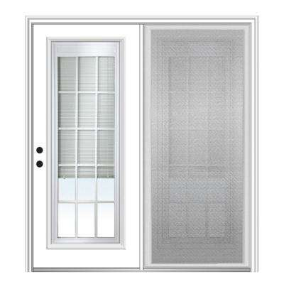 72 in. x 80 in. Primed Fiberglass Prehung Right Hand Internal Blinds Clear Glass 15-Lite Hinged Patio Door with Screen