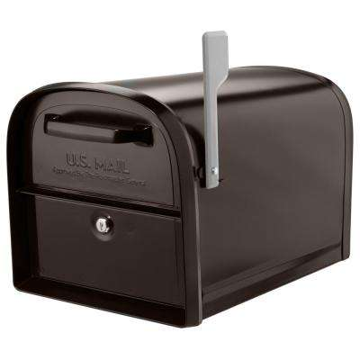 Oasis 360-Degree Rubbed Bronze Locking Parcel Mailbox with 2-Access Doors and Graphite Flag