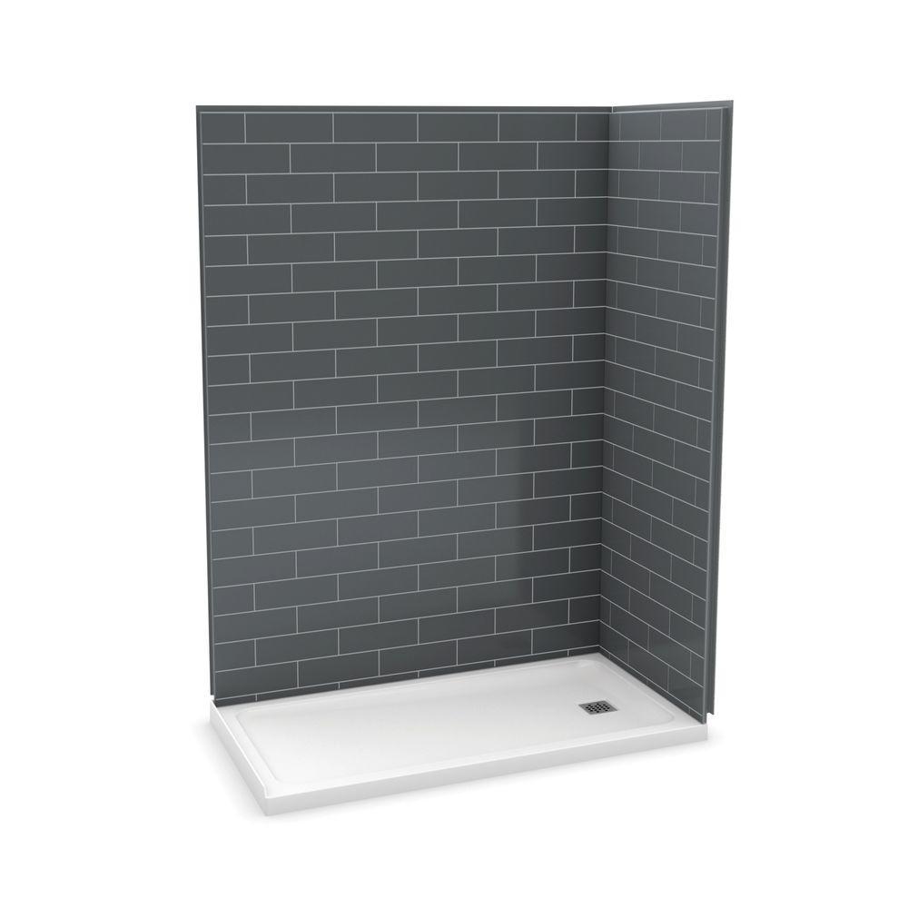Utile Metro 32 in. x 60 in. x 83.5 in. Corner Shower Stall in Thunder Grey with Right Drain Base in White