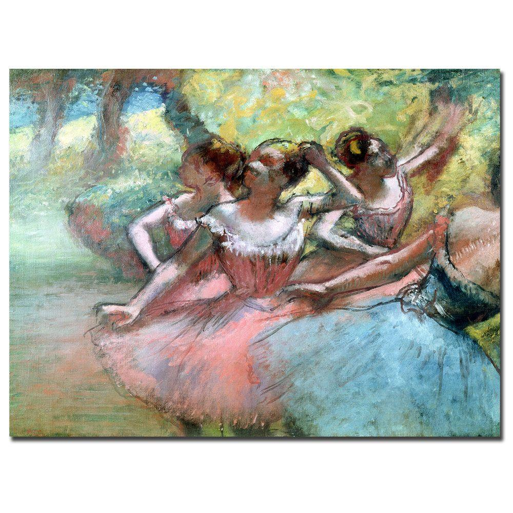 24 in. x 32 in. Four Ballerinas on the Stage Canvas