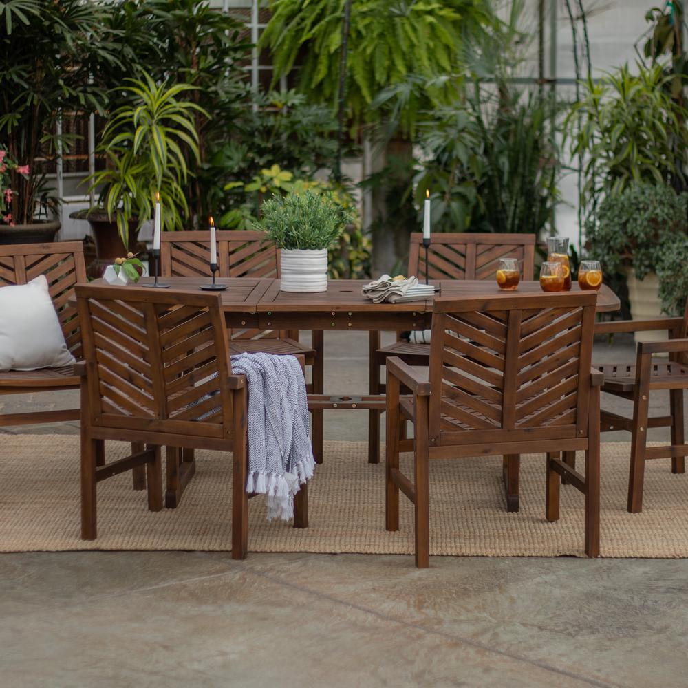Dark Brown 7-Piece Extendable Wood Outdoor Patio Dining Set