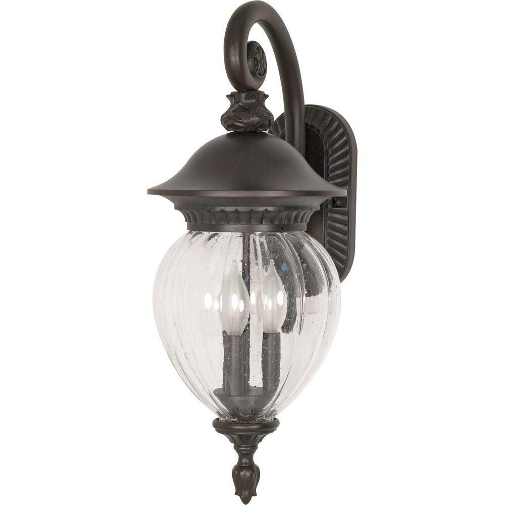 Glomar Balun 3-Light Wall Lantern Arm Down with Clear Melon Seed Glass finished in Chestnut Bronze-DISCONTINUED