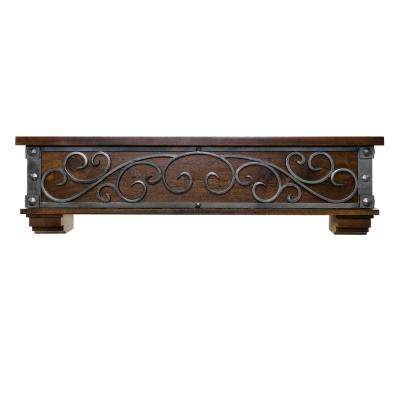 Symphony 6 ft. Walnut Forged Silver Rubbed Scrollwork Cap-Shelf Mantel