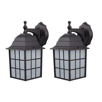 Colton Bronze Outdoor Wall Lantern with Frosted Glass (2-Pack)