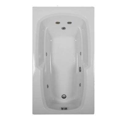 60 in. Rectangular Drop-in Whirlpool Bathtub in Biscuit