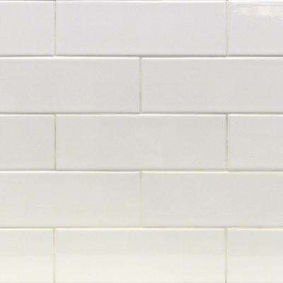 Essential White 4 in. x 12 in. x 6mm Polished Ceramic Subway Wall Tile (1 sq. ft.)