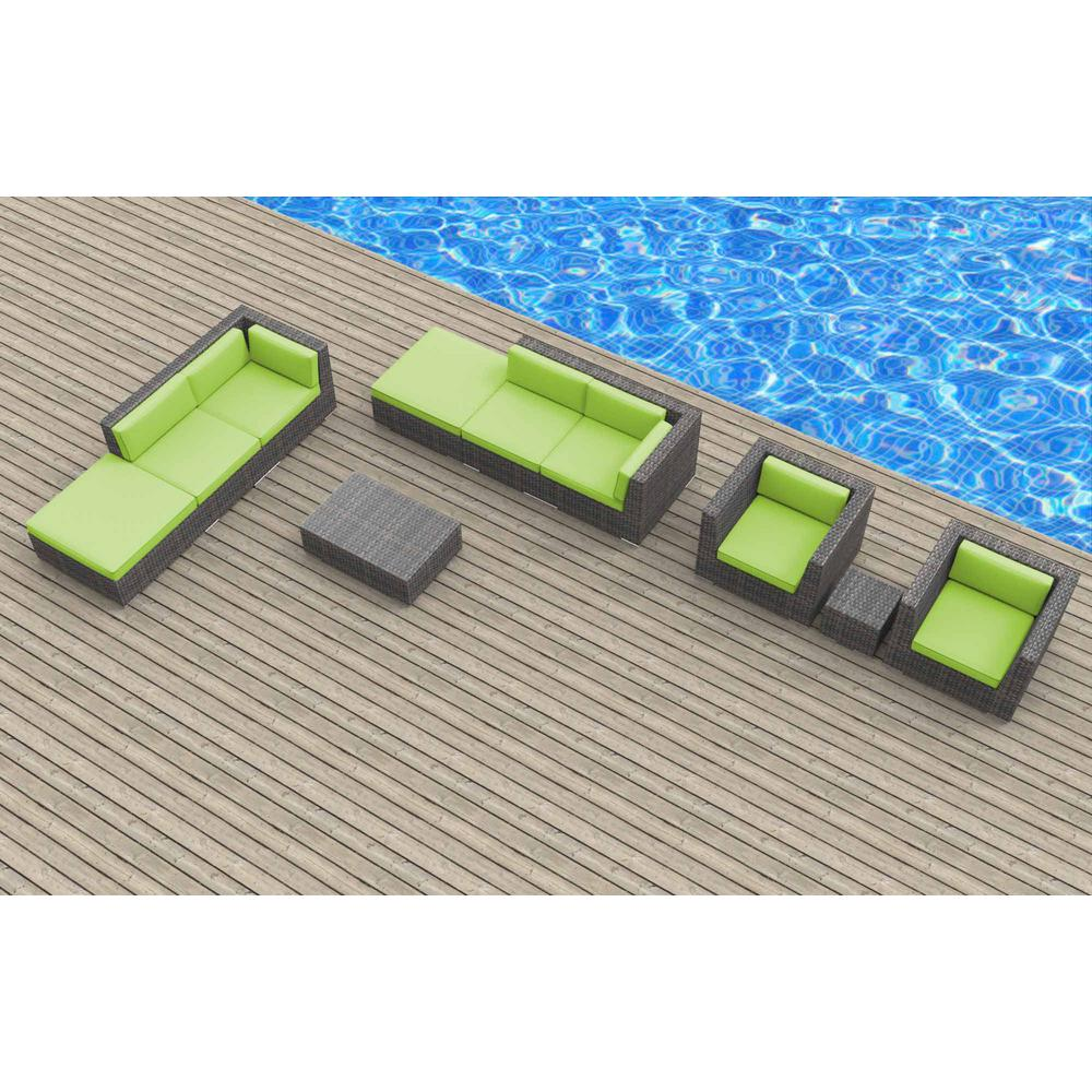 Urban Furnishing Brunei 10-Piece Wicker Outdoor Sectional Seating Set with Lime Green Cushions