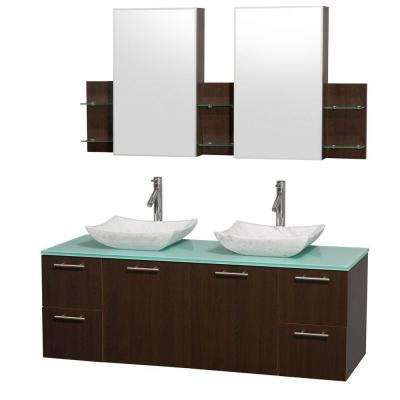 Amare 60 in. Double Vanity in Espresso with Glass Vanity Top in Aqua and Carrara Marble Sinks
