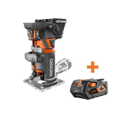 18-Volt OCTANE Cordless Brushless Compact Fixed Base Router with 4.0 Ah Lithium-Ion Battery