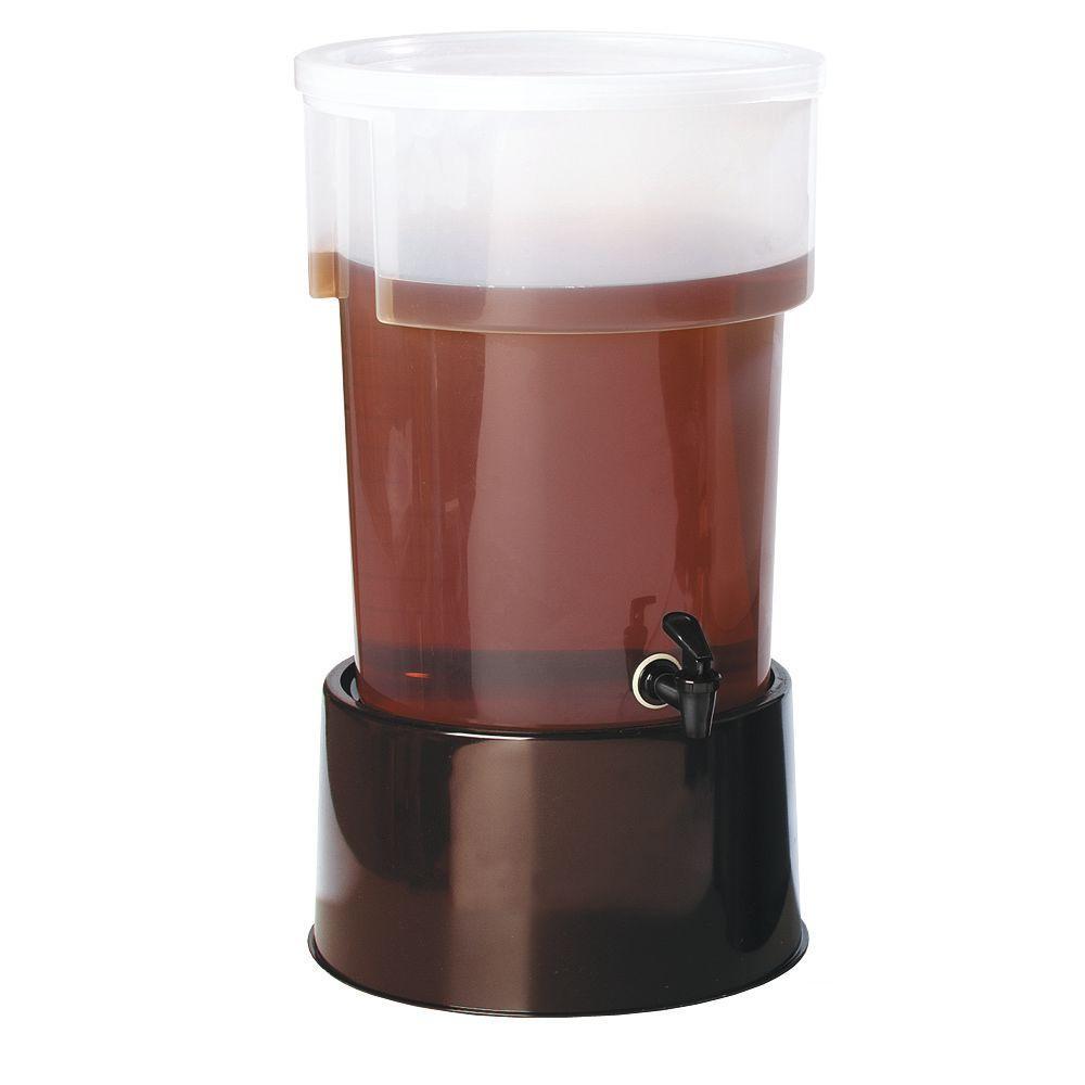 5 gal. Polypropylene Beverage Dispenser with Base in Translucent Reservoir and Brown Base