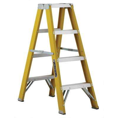 4 ft. Fiberglass Twin Step Ladder with 250 lbs. Load Capacity Type I Duty Rating