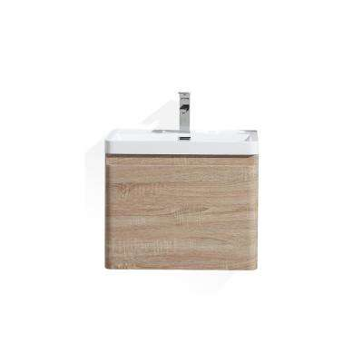 Happy 24 in. W Bath Vanity in White Oak with Reinforced Acrylic Vanity Top in White with White Basin