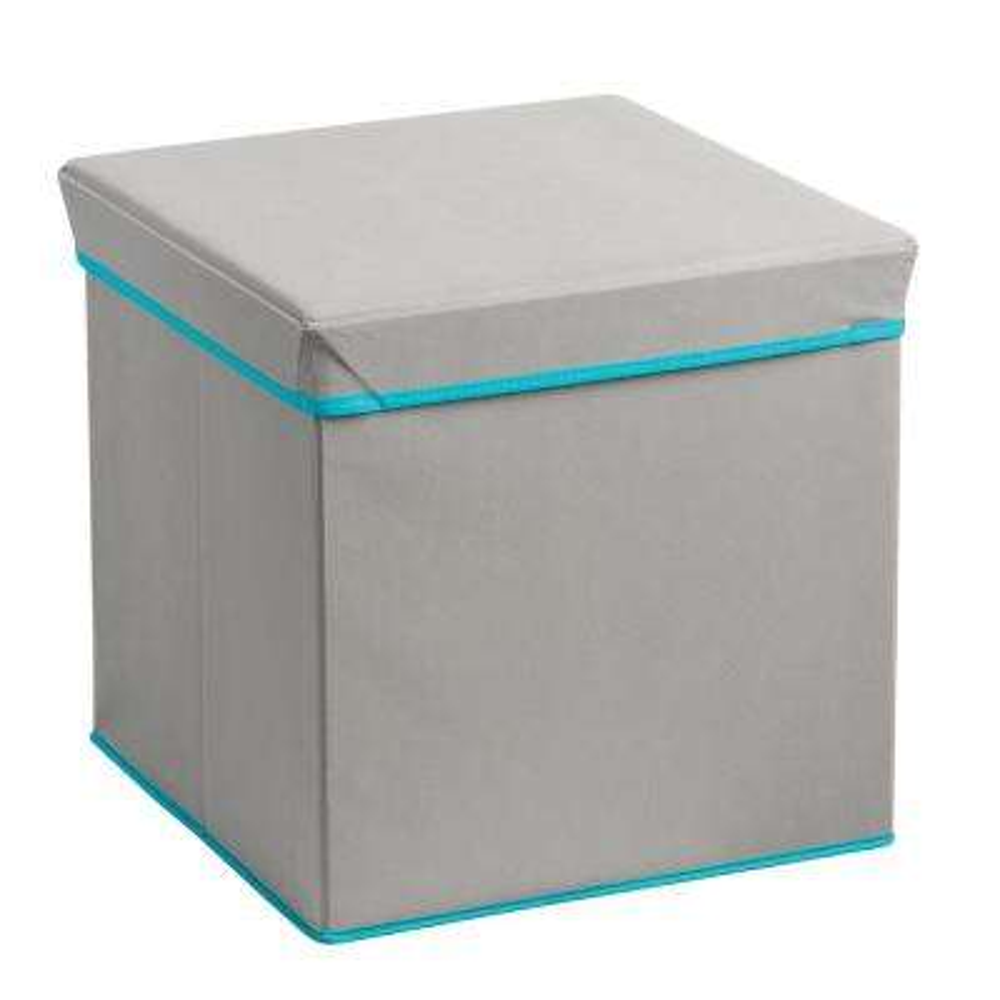 Foldable Storage Ottoman- Grey and Teal