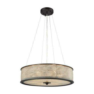 Glass Beads 6-Light Oil Rubbed Bronze Chandelier With Clear Glass Bead Shade