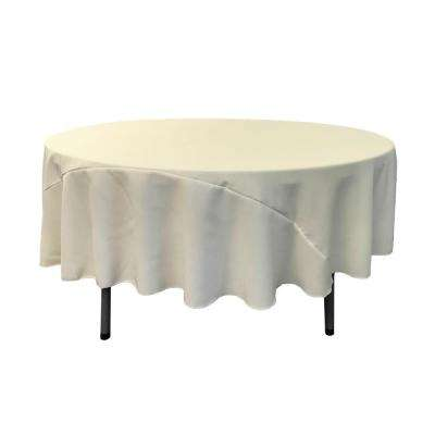 90 in. Ivory Polyester Poplin Round Tablecloth
