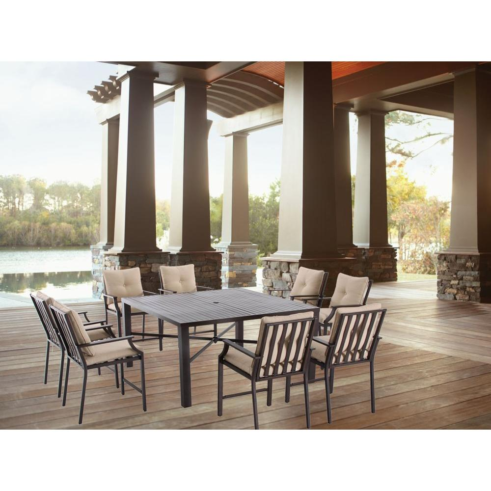 Hampton Bay Millstone 9-Piece Slat Top Patio High Dining Set with Desert Sand Cushions