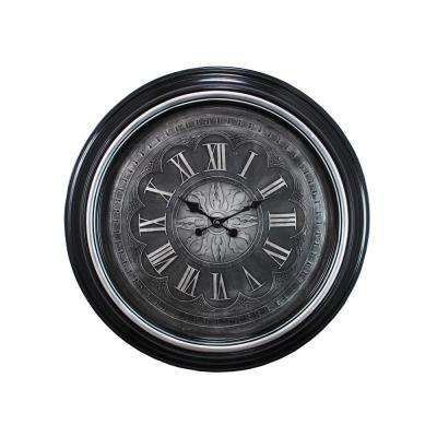Genoa Oversized 23 in. Wall Clock with Raised Numbers 2 in. D - Black with Brushed Silver Bezel