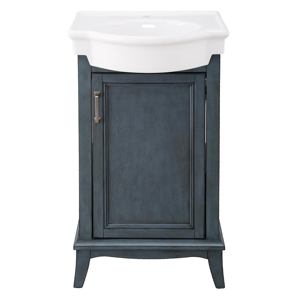Home Decorators Collection Larkan 19-3/4 in. W x 13-1/2 in. D Bath Vanity in Harbor Blue with Vitreous China Vanity Top in White with White Basin