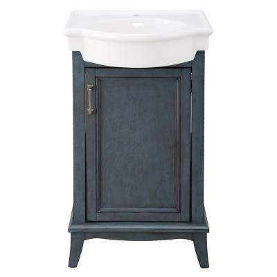 Larkan 19-3/4 in. W x 13-1/2 in. D Bath Vanity in Harbor Blue with Vitreous China Vanity Top in White with White Basin