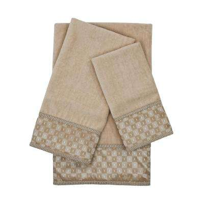 Montgomery Taupe Embellished Towel Set (3-Piece)