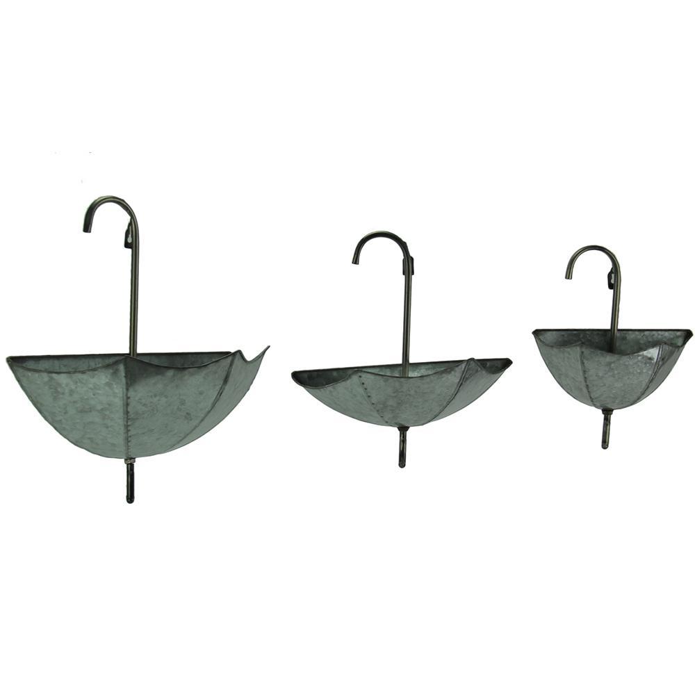Galvanized Zinc Finish Metal Wall Mounted Umbrella Planters Set Of 3