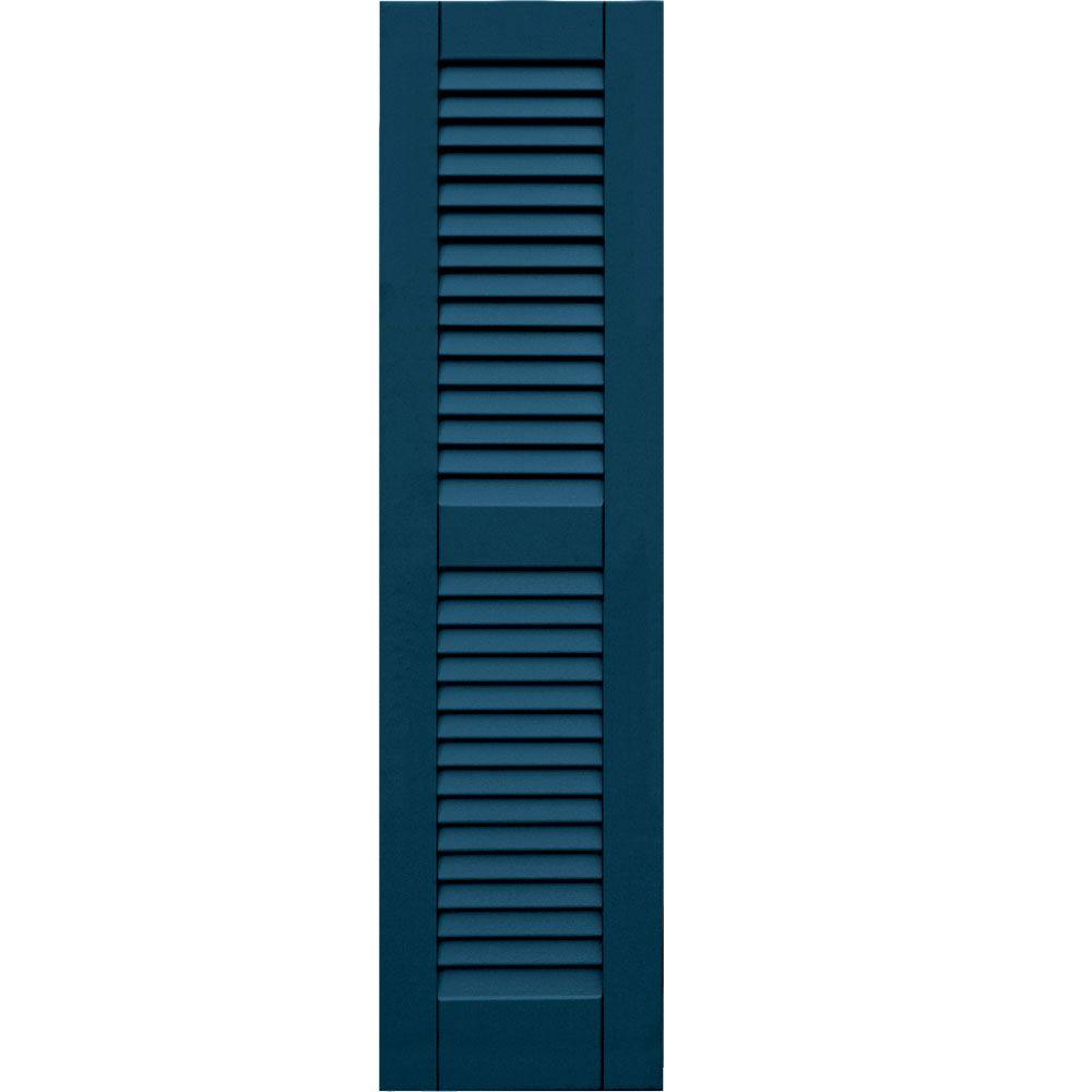 null Wood Composite 12 in. x 46 in. Louvered Shutters Pair #637 Deep Sea Blue