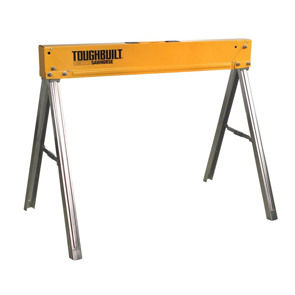 ToughBuilt 35.5 in. W x 28.5 in. H Steel Sawhorse and Jobsite Table – 1100 lb. Capacity