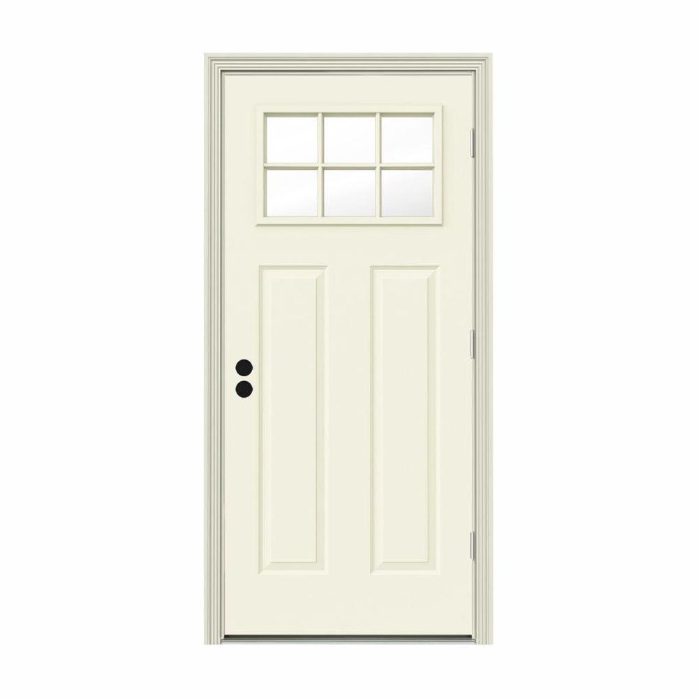 32 in. x 80 in. 6 Lite Craftsman Vanilla Painted Steel Prehung Left-Hand Outswing Front Door w/Brickmould