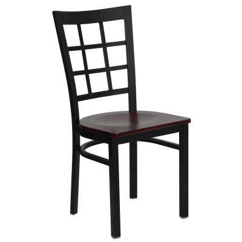Mahogany Wood Seat/Black Metal Frame Metal Side Chair