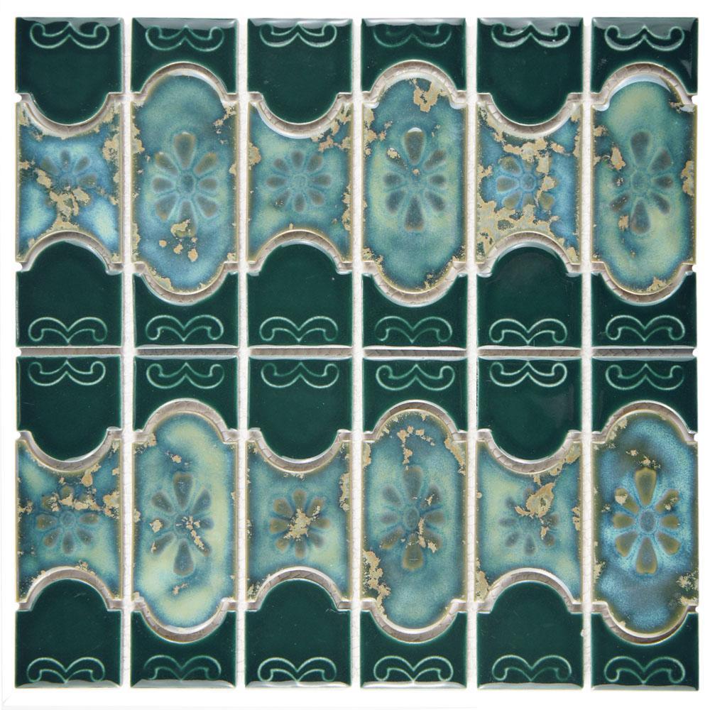 Merola Tile Montego Emerald 12-1/4 in. x 12-1/2 in. x 5 mm Porcelain ...
