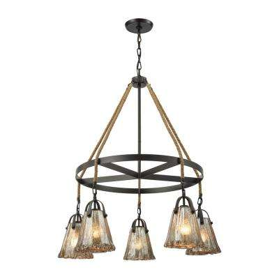 Hand Formed Glass 5-Light Oil Rubbed Bronze Chandelier with Antique Mercury Flower Glass Shades