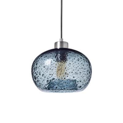 9 in. W x 6 in. H 1-Light Silver Rustic Seeded Hand Blown Glass Pendant Light with Blue Glass Shade