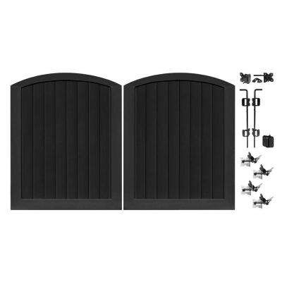 Pro Series 5 ft. W x 6 ft. H Black Vinyl Anaheim Privacy Double Drive Through Arched Fence Gate