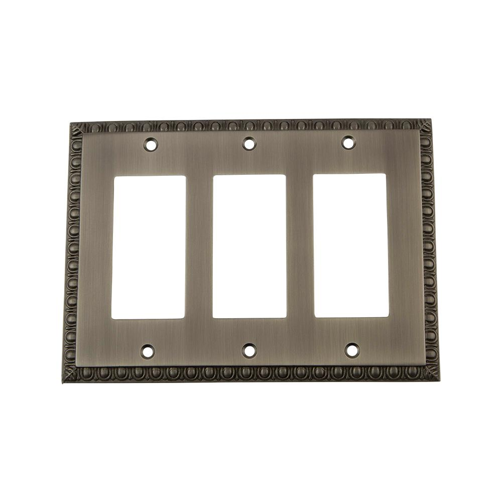 Nostalgic Warehouse Egg And Dart Switch Plate With Triple Rocker In
