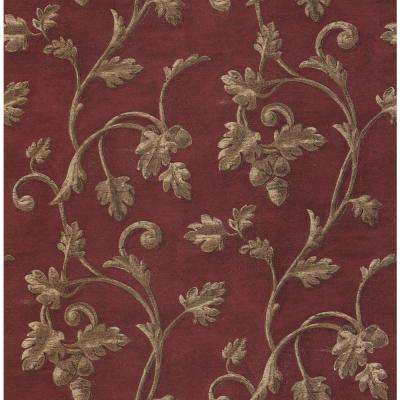 Madison Florals Red Scroll Print Wallpaper Sample