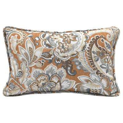Cashew Floral Lumbar Outdoor Throw Pillow