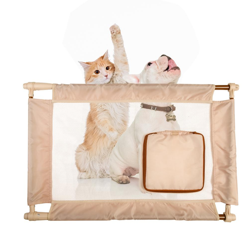 PET LIFE Khaki Porta Gate Travel Collapsible And Adjustable Folding Pet Cat Dog  Gate