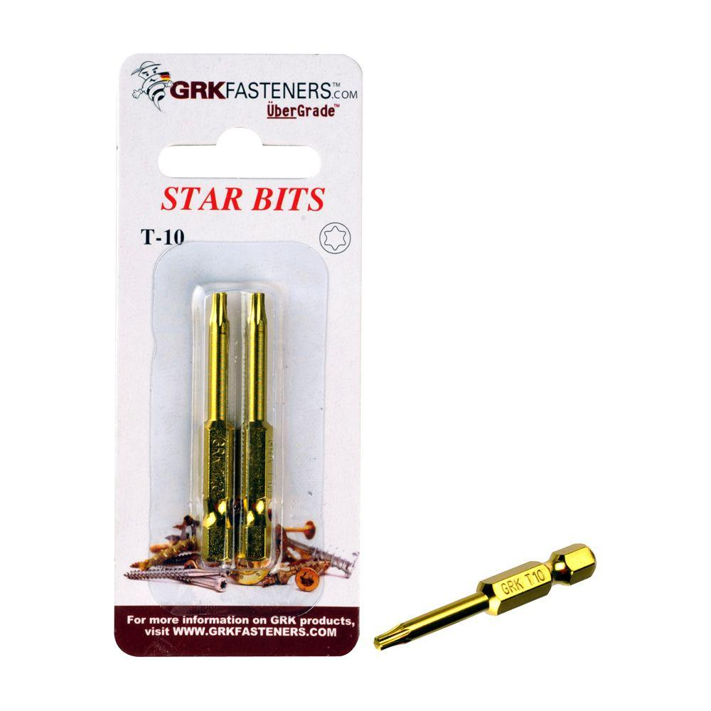 GRK Fasteners T-10 2 in. Steel Star Bits (2 per Pack)